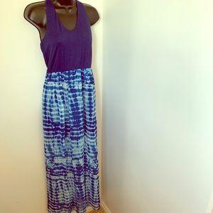 LILY ROSE blue tie dye halter maxi dress size m
